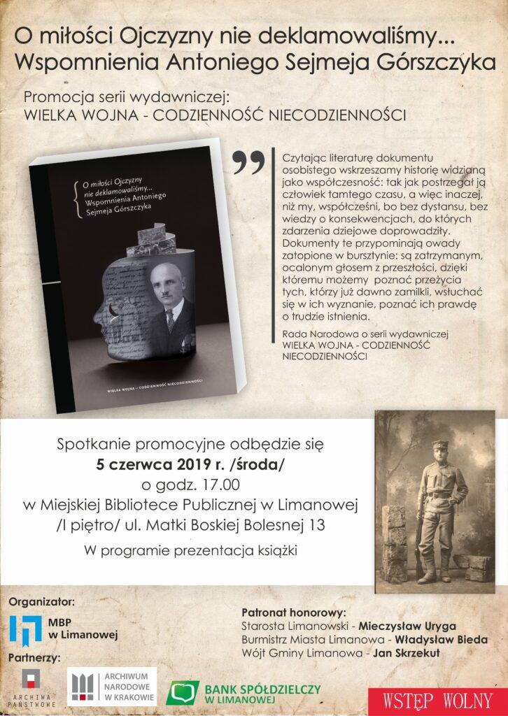 Plakat promujący wydanie pamiętników  Antoniego Górszczyka