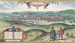 Widok Krakowa od południa z 1617 r. 1618 r. (Archiwum Narodowe w Krakowie, sygn.. 29/663/440)