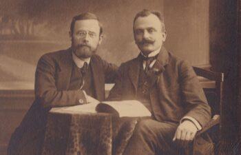 Ludwik Czech (po prawej) - kierownik działu aprowizacyjnego Głównego Komitetu Plebiscytowego Spisko-Orawskiego, brak daty