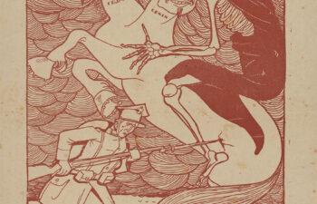 """""""Potwór bolszewicki"""" plakat kolorowy wydawnictwa """"Żołnierza Polskiego"""" przedstawiający dwugłowego konia śmierci z Moskwy, brak daty. ANK, sygn. 29/645/126, s. 229"""