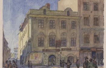 Kolorowy rysunek przedstawiający elewację frontową kamienicy przy ul. Grodzkiej 37, na pierwszym planie przechodzący ludzie