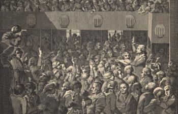 czarnobiała rycina przedstawiająca Zaprzysiężenie Konstytucji 3 Maja, reprodukcja pracy Walerego Eliasza- Radzikowskiego wg pracy J.P. Norblina